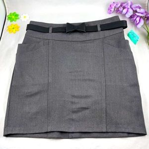 NWT Have Bow Tie Belted Grey MiniSkirt M